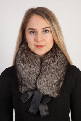 Silver fox fur collar, neck warmer